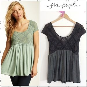 Free People Extreme Babydoll Grey Scoop Neck Top S